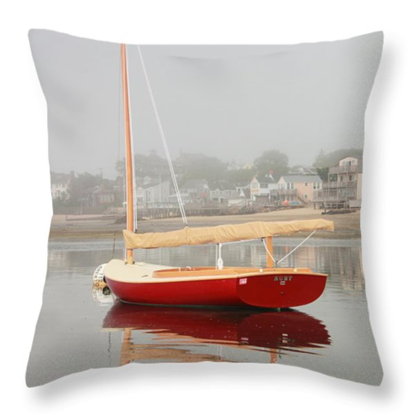 Ruby Red Catboat Throw Pillow by Roupen  Baker