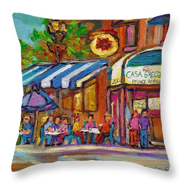 Rue Prince Arthur Casa Grecque Montreal Throw Pillow by Carole Spandau