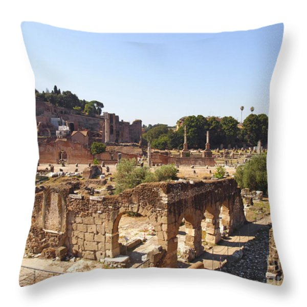 Ruins. Roman Forum. Rome Throw Pillow by BERNARD JAUBERT