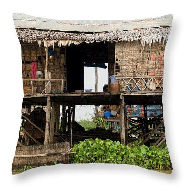 Rural Fishermen Houses in Cambodia Throw Pillow by Artur Bogacki