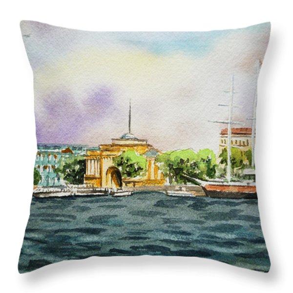 Russia Saint Petersburg Neva River Throw Pillow by Irina Sztukowski