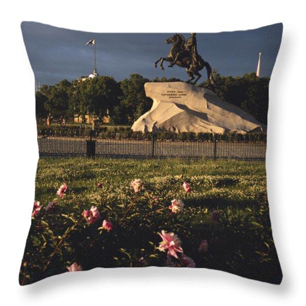 Russia, St. Petersburg, The Bronze Throw Pillow by Keenpress