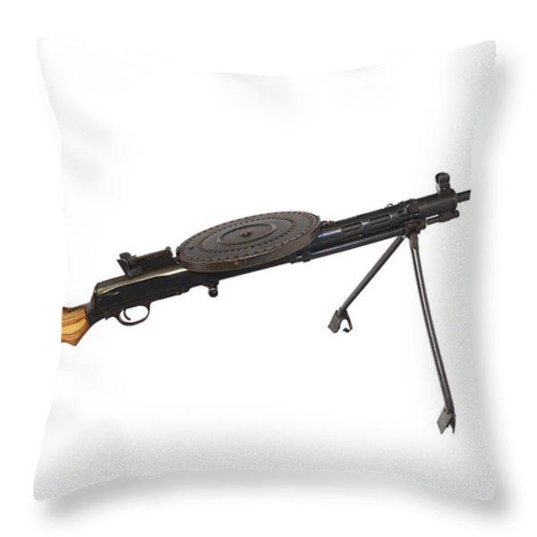 Russian 7.62mm Degtyarev Dp Machine Gun Throw Pillow by Andrew Chittock