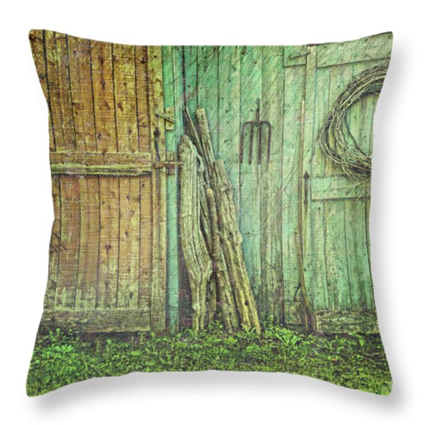 Rustic barn doors with grunge texture Throw Pillow by Sandra Cunningham