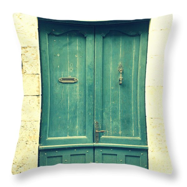 Rustic teal green door Throw Pillow by Nomad Art And  Design