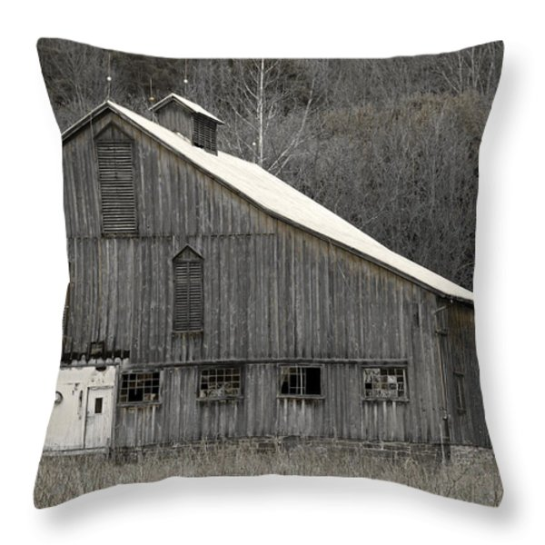 Rustic Weathered Mountainside Cupola Barn Throw Pillow by John Stephens