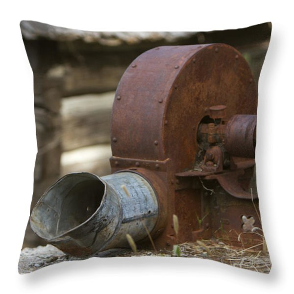 Rusty Blower Throw Pillow by JoJo Photography