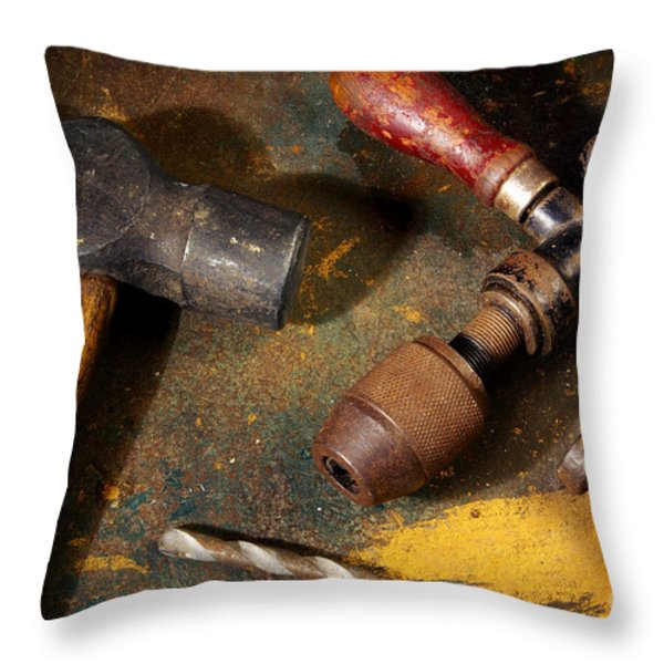 Rusty Tools Throw Pillow by Carlos Caetano