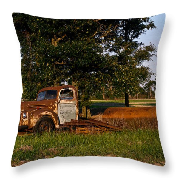 Rusty Truck And Tank Throw Pillow by Douglas Barnett