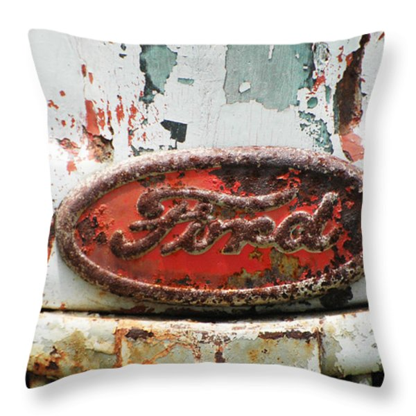 Rusty Vintage White Ford Sign Throw Pillow by Anahi DeCanio