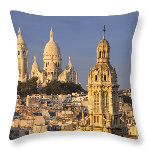Sacre Coeur Throw Pillow by Brian Jannsen