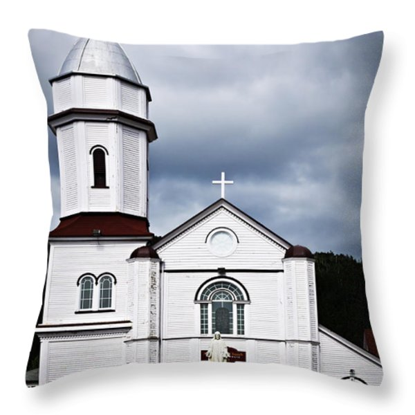 Sacred Heart Church In Placentia Newfoundland Throw Pillow by Elena Elisseeva
