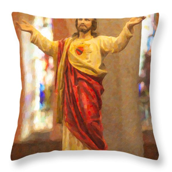 Sacred Heart of Jesus Throw Pillow by Clarence Holmes