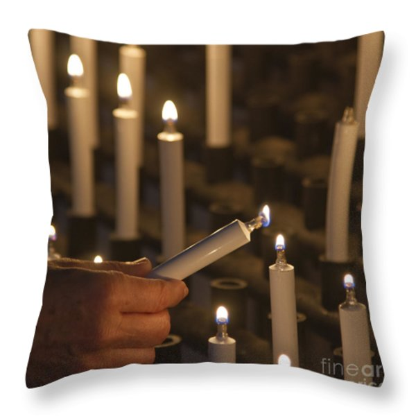 Sacrificial Candles 3 Throw Pillow by Heiko Koehrer-Wagner