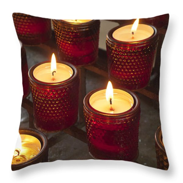 Sacrificial Candles Throw Pillow by Heiko Koehrer-Wagner
