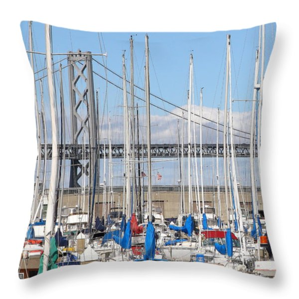 Sail Boats At San Francisco China Basin Pier 42 With The Bay Bridge In The Background . 7d7683 Throw Pillow by Wingsdomain Art and Photography