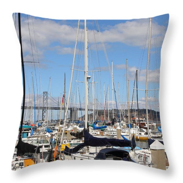 Sail Boats At San Francisco China Basin Pier 42 With The Bay Bridge In The Background . 7d7685 Throw Pillow by Wingsdomain Art and Photography