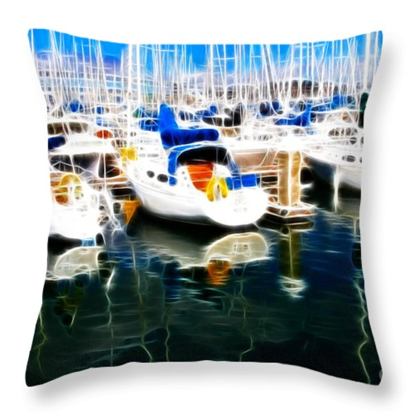 Sail Boats At San Francisco's Pier 42 . Electrified Throw Pillow by Wingsdomain Art and Photography