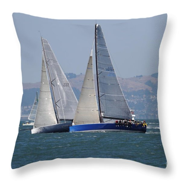 Sail Boats On The San Francisco Bay - 7d18323 Throw Pillow by Wingsdomain Art and Photography