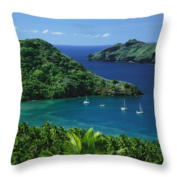 Sailboats Anchored In A Cove Of Blue Throw Pillow by Tim Laman