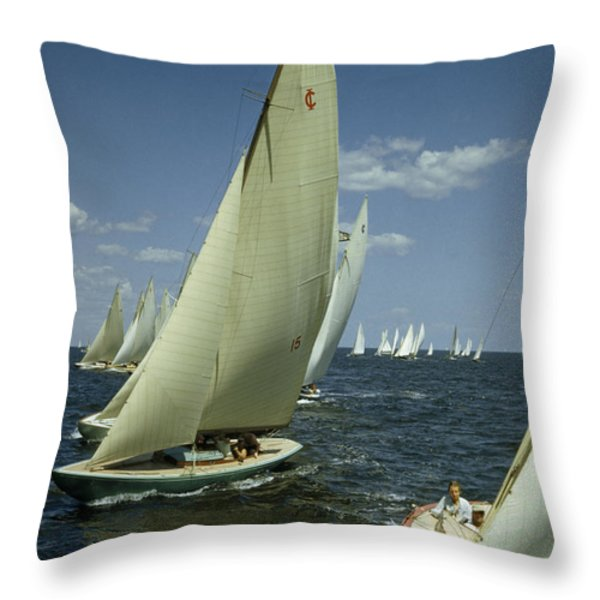 Sailboats Cross A Starting Line Throw Pillow by B. Anthony Stewart
