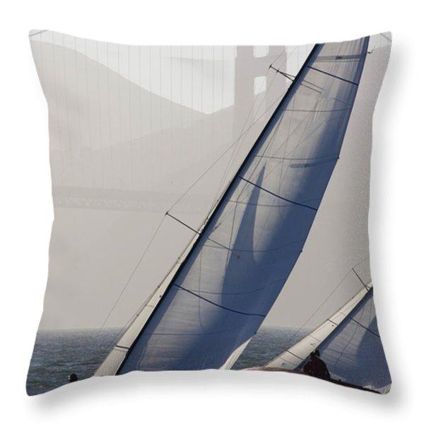 Sailboats Race On San Francisco Bay Throw Pillow by Skip Brown