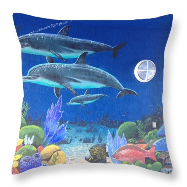 Sailfish Splash Park 2 Throw Pillow by Carey Chen
