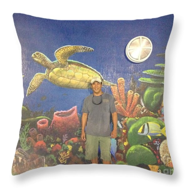 Sailfish Splash Park Mural 7 Throw Pillow by Carey Chen