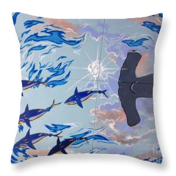 Sailfish Splash Park Mural 8 Throw Pillow by Carey Chen