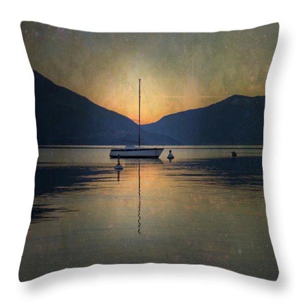 Sailing Boat At Night Throw Pillow by Joana Kruse