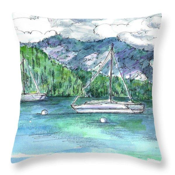 Sailing Lake Tahoe Throw Pillow by Cathie Richardson