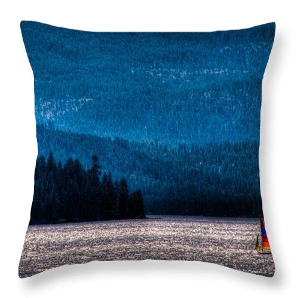 Sailing Priest Lake Throw Pillow by David Patterson