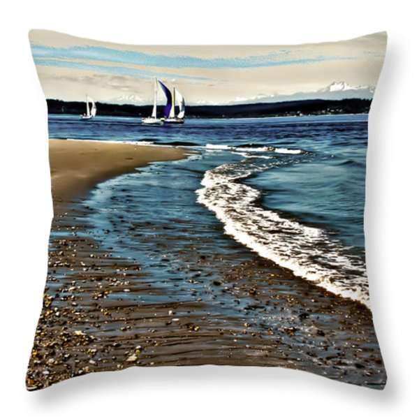 Sailing The Puget Sound Throw Pillow by David Patterson