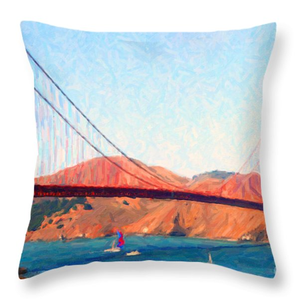 Sailing Under The Golden Gate Bridge Throw Pillow by Wingsdomain Art and Photography