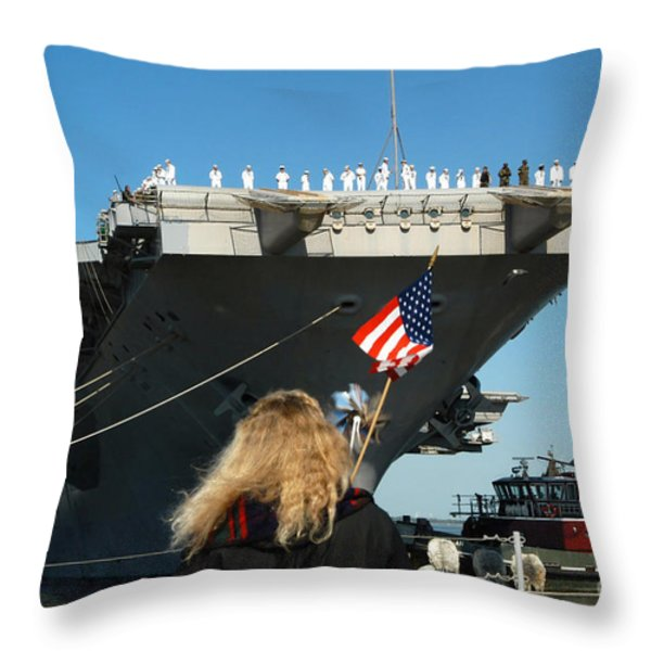 Sailors Aboard Aircraft Carrier Uss Throw Pillow by Stocktrek Images