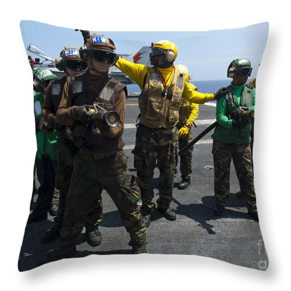 Sailors Fight A Simulated Fire Drill Throw Pillow by Stocktrek Images