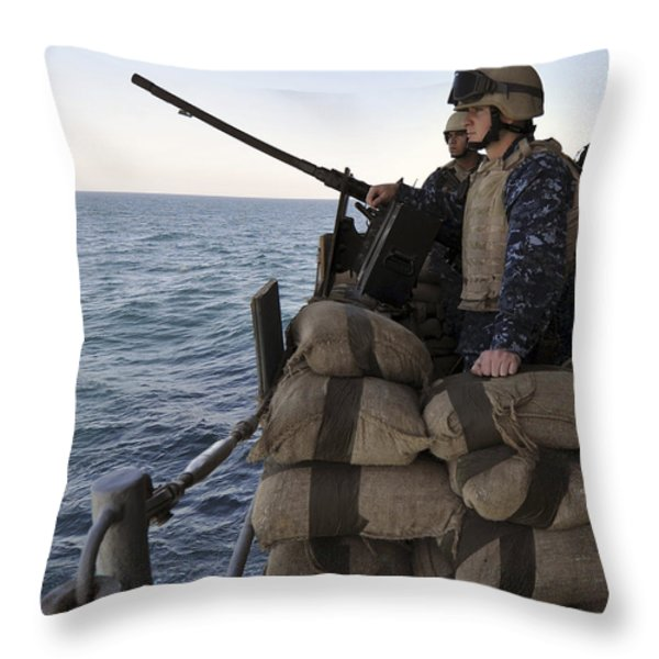 Sailors Stand Small Caliber Attack Team Throw Pillow by Stocktrek Images