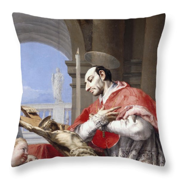 Saint Charles Borromeo Throw Pillow by Giovanni Battista Tiepolo