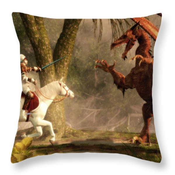 Saint George And The Dragon Throw Pillow by Daniel Eskridge