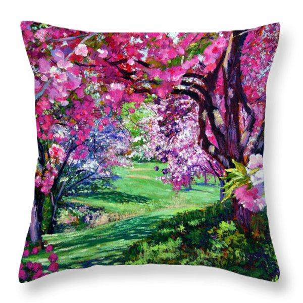 Sakura Romance Throw Pillow by David Lloyd Glover