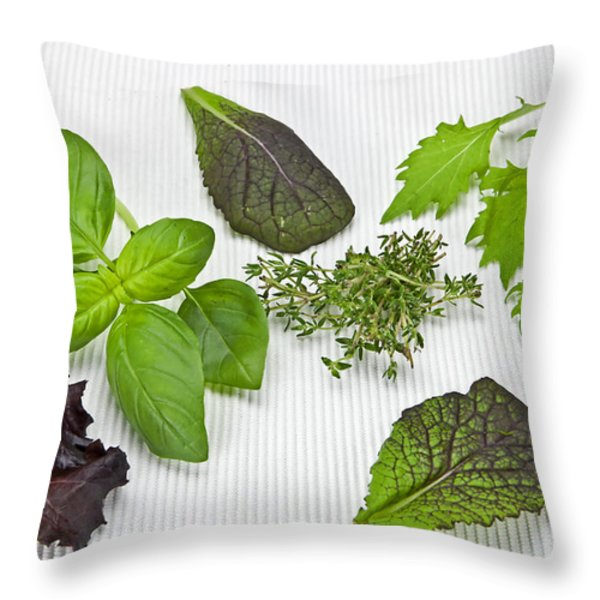 Salad greens and spices Throw Pillow by Joana Kruse