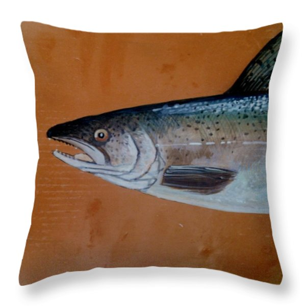 Salmon 1 Throw Pillow by Andrew Drozdowicz