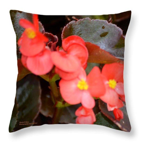 Salmon Begonia Throw Pillow by Maria Urso