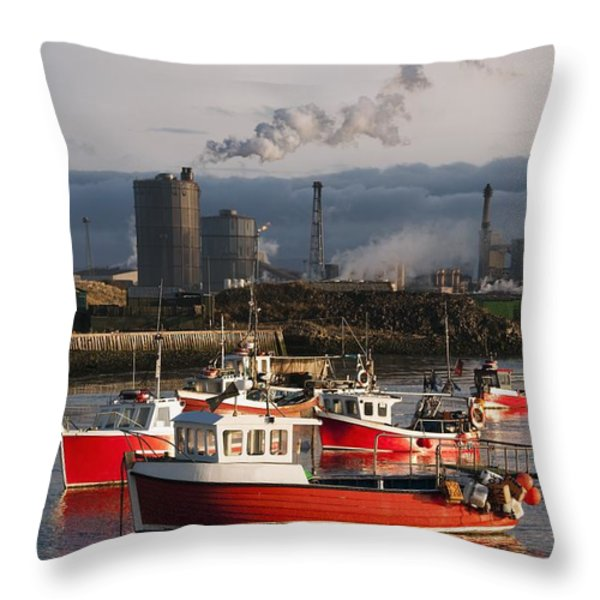 Saltburn, Teesside, England Boats Throw Pillow by John Short