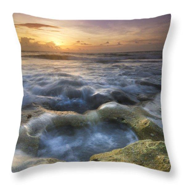 Salty Pool Throw Pillow by Debra and Dave Vanderlaan
