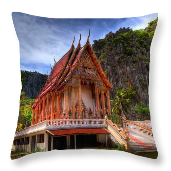 Sam Roi Yot Temple Throw Pillow by Adrian Evans