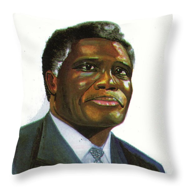 Samuel Kobia Throw Pillow by Emmanuel Baliyanga