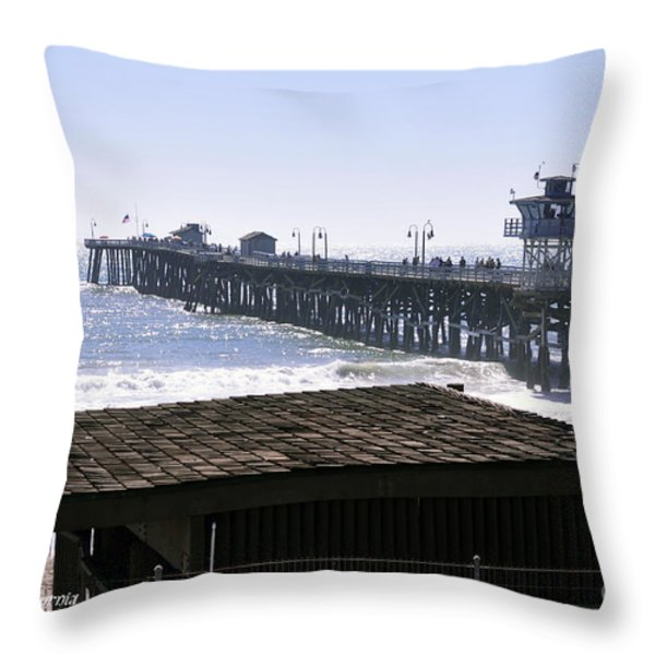 San Clemente Pier California Throw Pillow by Clayton Bruster