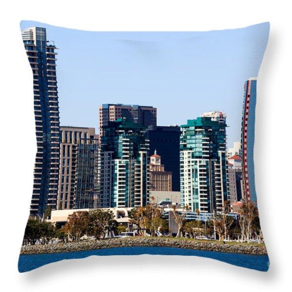 San Diego California Skyline Throw Pillow by Paul Velgos