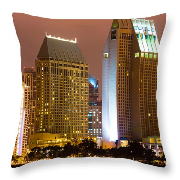 San Diego City at Night Throw Pillow by Paul Velgos